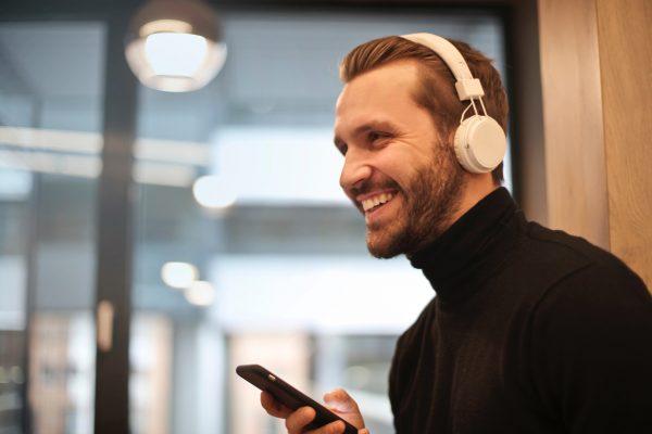 digital audio, headphones, man